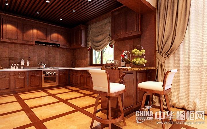 东南亚风格厨房装修效果图 实木橱柜图片