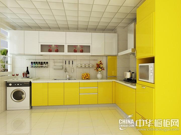 简约橱柜装修效果图 黄色系橱柜图片