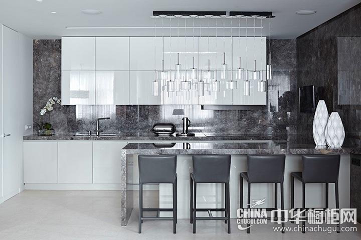 开放式厨房装修效果图 岛型整体橱柜图片