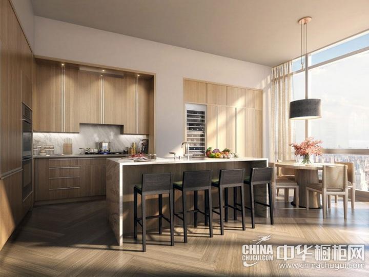 开放式厨房设计图片 原木色橱柜图片