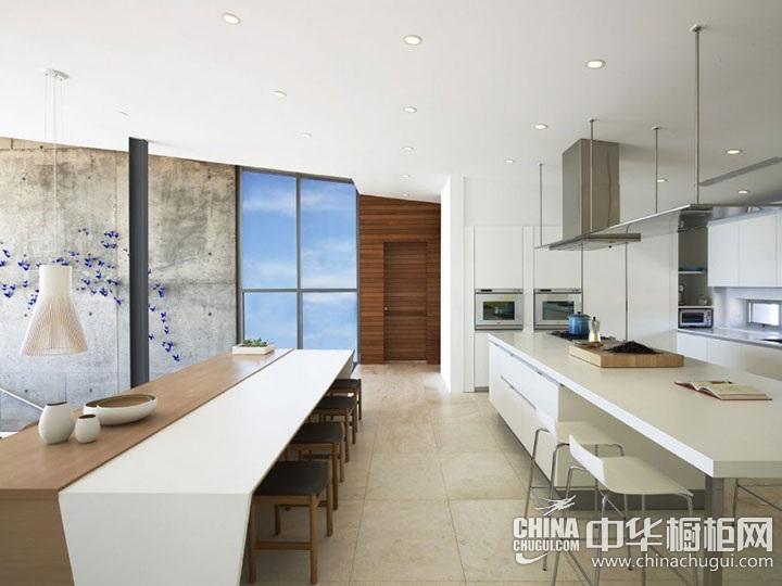 开放式厨房设计图大全 白色橱柜图片