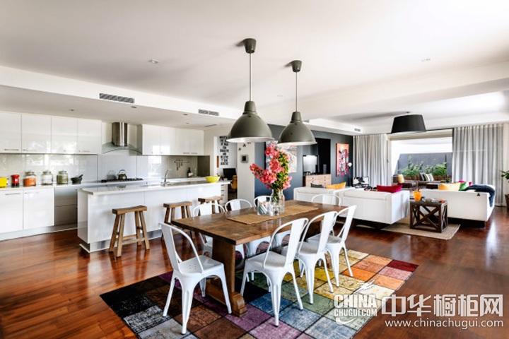 厨房餐厅装修效果图 客厅厨房一体装修效果图