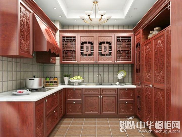 中式厨房装修效果图 中式橱柜图片