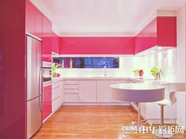 粉色系橱柜图片 厨房橱柜图片