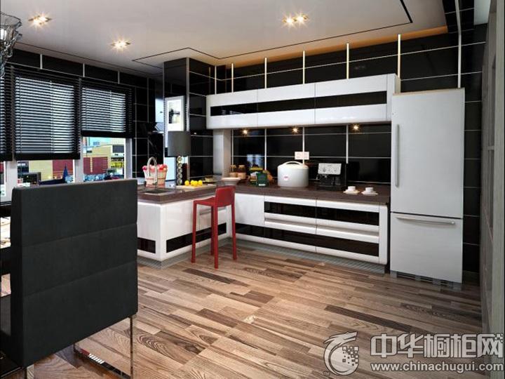 黑白简约风格橱柜效果图 时尚简约整体橱柜图片