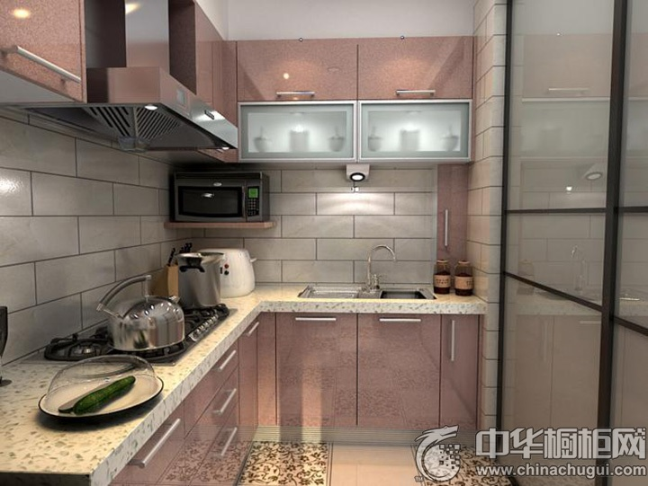 粉色系橱柜图片 L型厨房图片