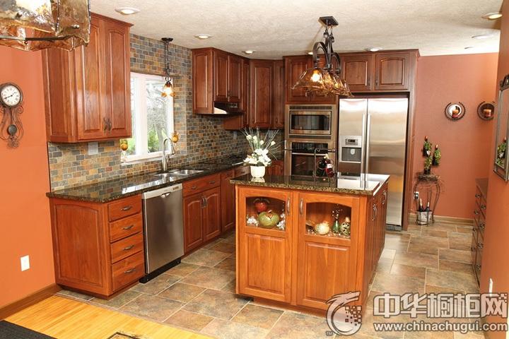 实木厨房装修效果图 实木橱柜图片