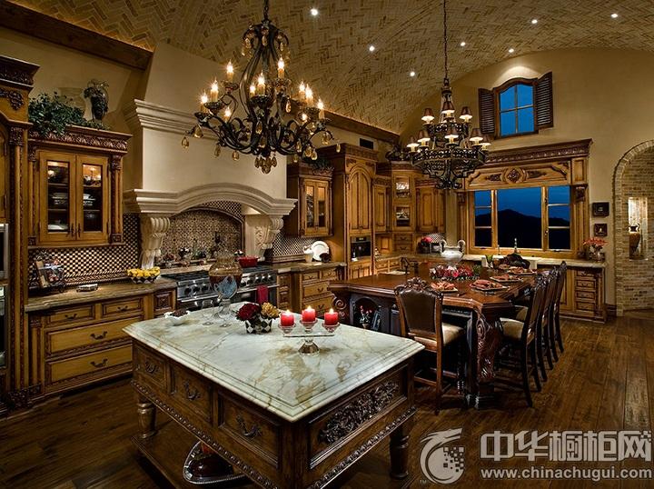 古典开放式厨房装修效果图 古典整体橱柜图片