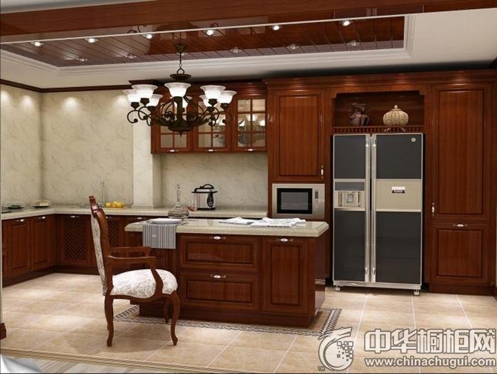 欧式古典风格整体橱柜效果图 古典实木橱柜图片