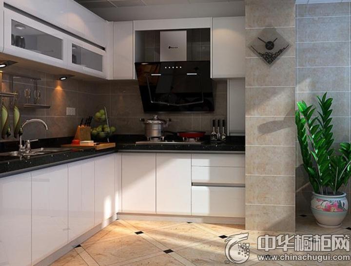白色L型橱柜图片 L型厨房效果图