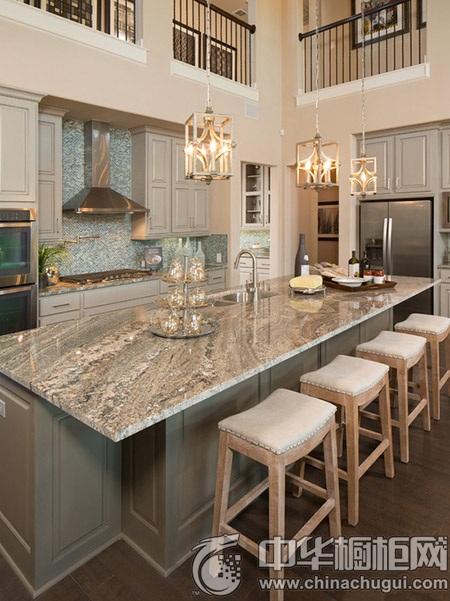 实用开放式厨房装修 厨房中岛吧台设计欣赏
