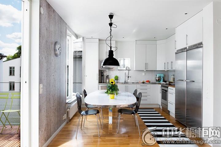 L型厨房图片 白色L型橱柜图片