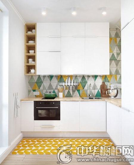 小清新厨房装修设计第五弹: 白色橱柜效果图 配色:白色柜体 实木色