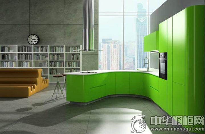 绿色简约橱柜效果图 绿色橱柜图片