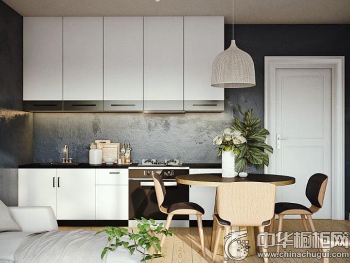 一字型橱柜效果图 一字型厨房设计图
