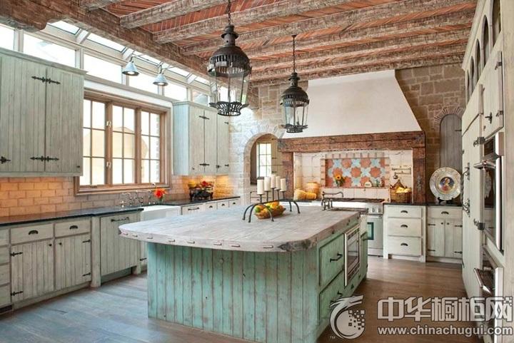 田园风格整体厨房装修效果图 田园风格橱柜效果图大全