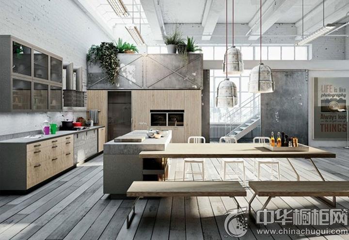 开放式厨房效果图 原木色橱柜效果图