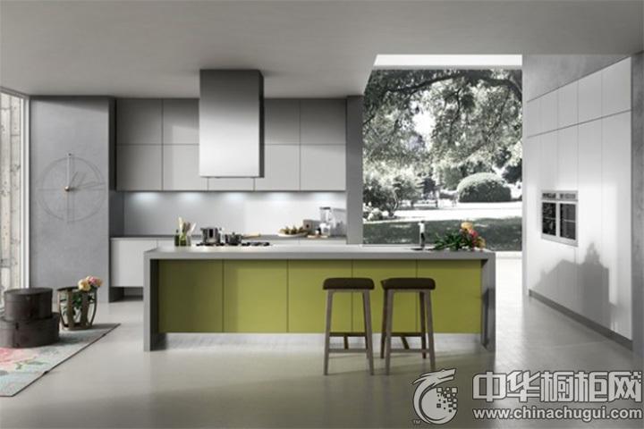 绿色岛型橱柜图片 绿色简约橱柜图片