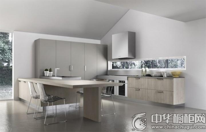 厨房吧台装修效果图 原木色橱柜效果图