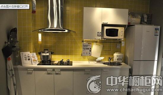宜家厨房装修样板间 多功能一字型橱柜设计