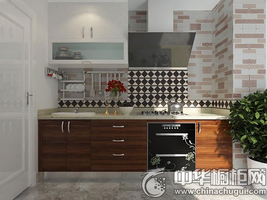 现代风格整体厨房 编号:OPC0010096  一字型橱柜 入户既是鞋柜与厨房,狭小的过道一字型橱柜更合适,地柜内嵌厨电,洗切煮区域动线流畅,半开放式吊柜存取物品方便。 参考价格: 20000 现代风格整体厨房 编号:OPC001003  橱柜效果图 一字型橱柜,空间不大,因此充分利用了地柜、吊柜以及墙面挂件的储物功能,把厨房收拾得厨房井然有序,同时,原木门板与墙纸的选择和全屋原始自然的风格协调一致。 参考价格价: 10000