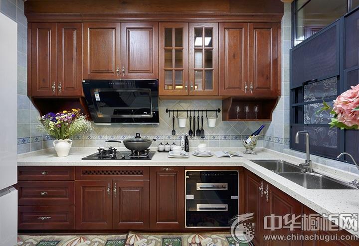 中式厨房装修效果图 L型橱柜图片