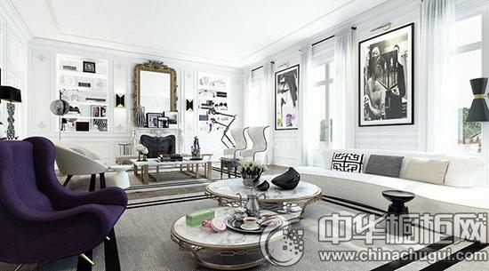 经典黑白色系整体家装 橱柜设计别致不落俗套