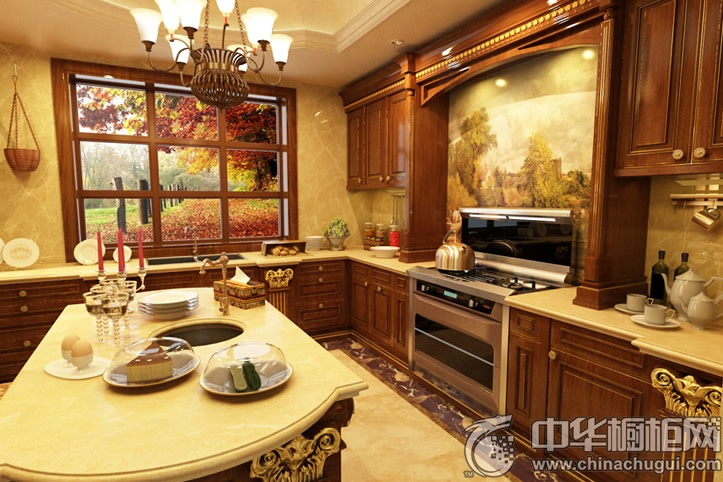 整体厨房效果图 岛型整体橱柜图片