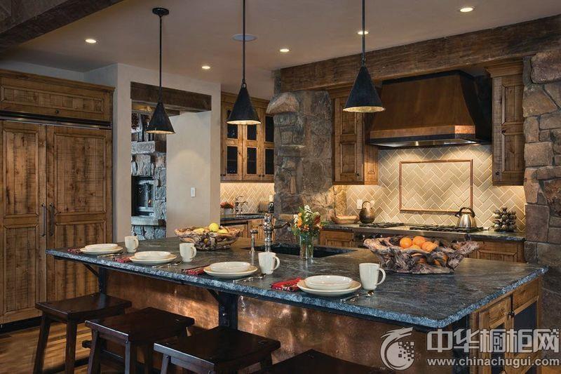 田园风格厨房设计图 岛型橱柜效果图