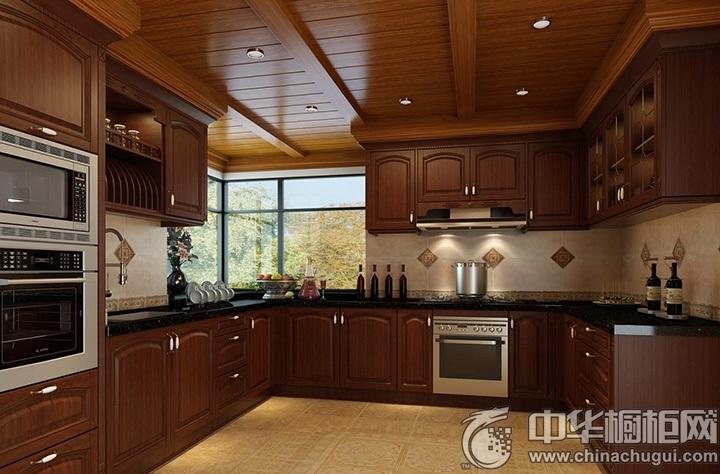 古典橱柜设计图 U型厨房装修效果图
