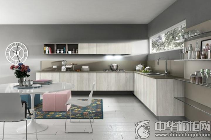 开放式厨房效果图 L型橱柜图片
