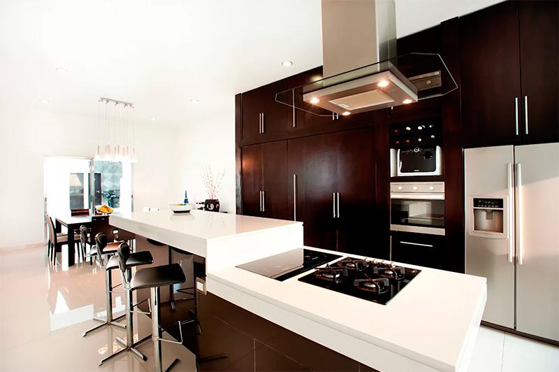 中式开放式厨房装修效果图 时尚现代整体橱柜效果图