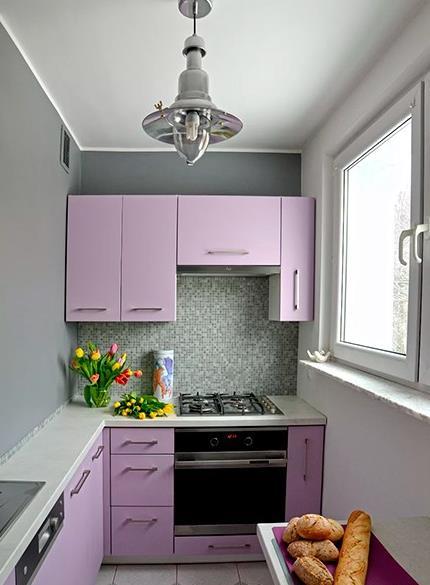 紫色整体橱柜图片 集成灶装修效果图