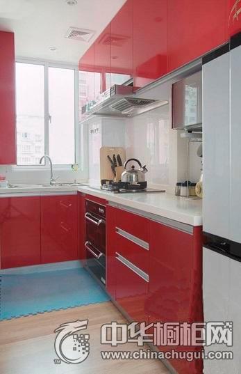 红色简约风格橱柜效果图 集成灶图片