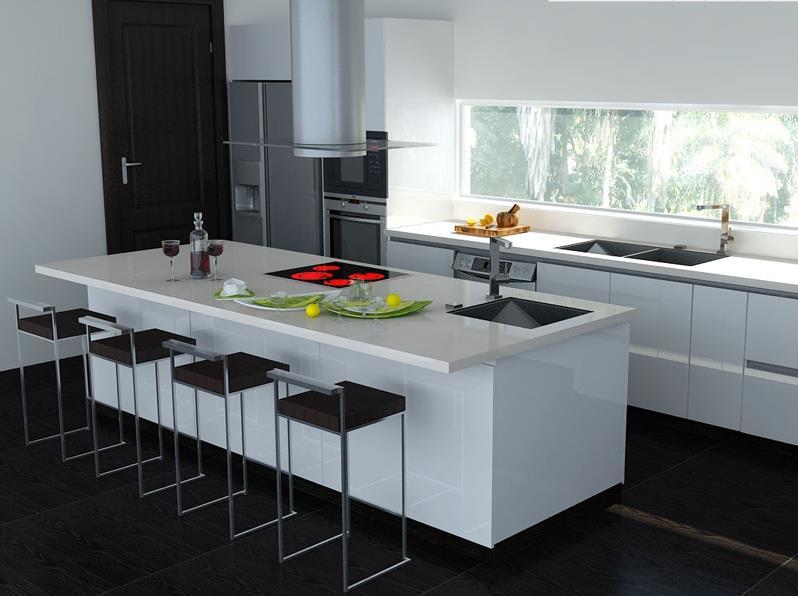 现代简约风格橱柜图片  厨房吧台设计