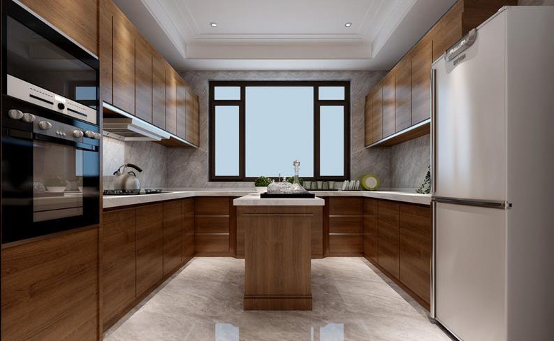 简约风格橱柜图片 咖啡色岛型橱柜效果图