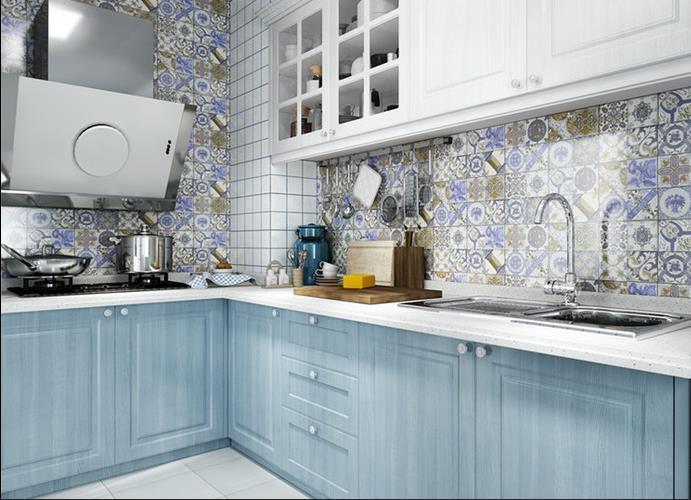 浅蓝色整体橱柜图片 L型橱柜装修效果图