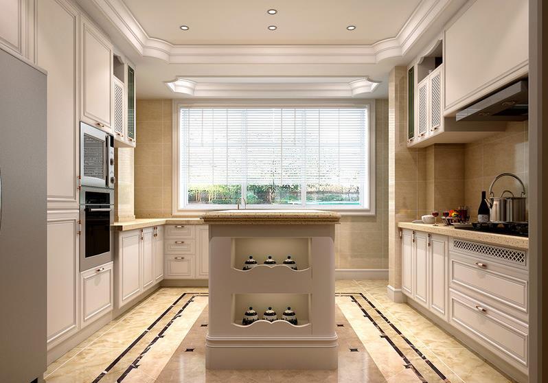 欧式风格厨房装修效果图 岛型整体橱柜图片