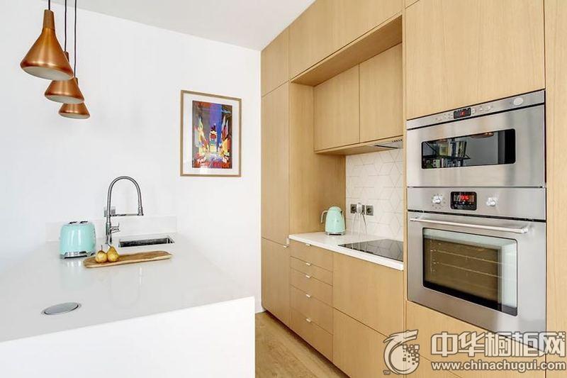 小户型厨房一字型原木整体橱柜装修效果图