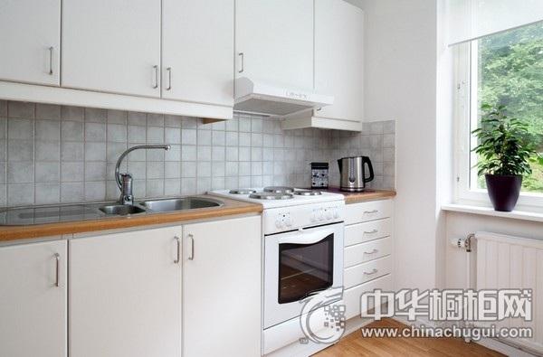 简欧厨房效果图 一字型橱柜设计图