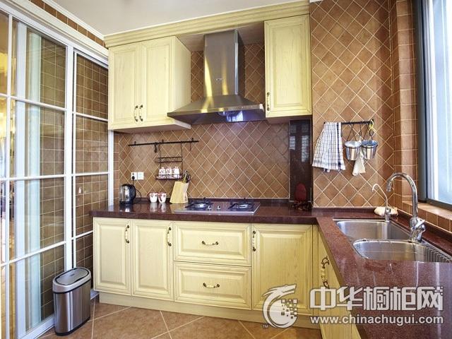 欧式橱柜效果图 L型厨房装修效果图