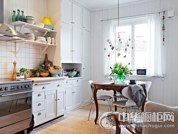 北欧风格橱柜图片 一字型厨房装修效果图