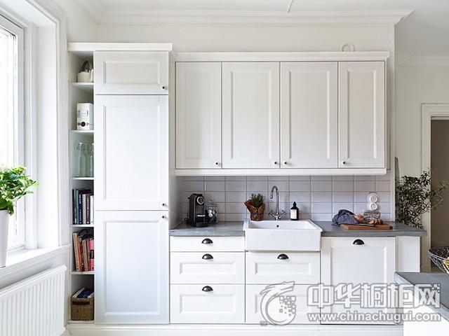 简欧厨房效果图 一字型厨房装修效果图