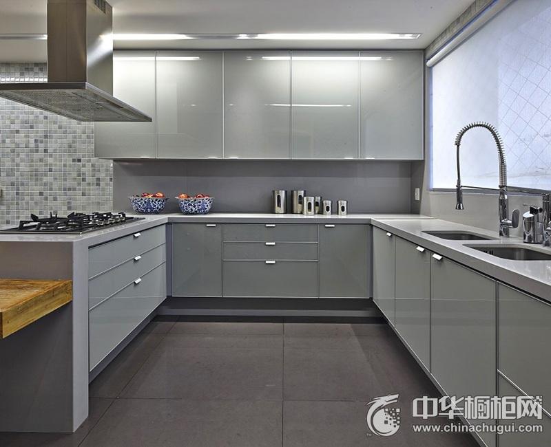 灰色简约橱柜效果图 现代时尚厨房装修效果图