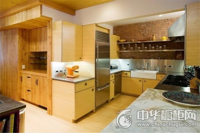 厨房装修设计效果图 原木色橱柜图片
