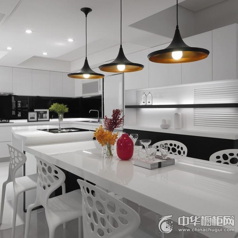 黑白烤漆橱柜设计图 开放式厨房装修效果图