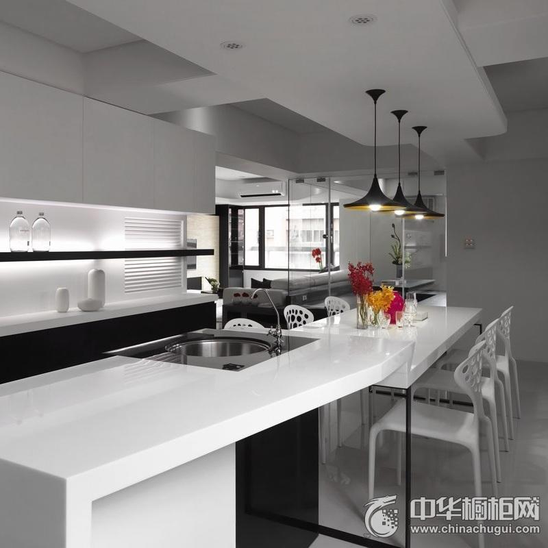 黑白时尚厨房装修效果图 简约风橱柜设计图