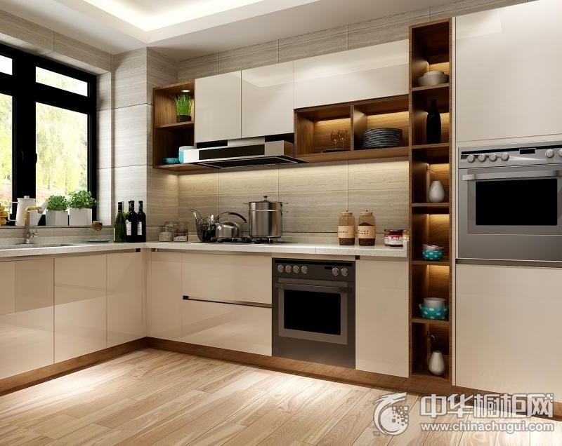 现代风格橱柜效果图 L型厨房装修效果图