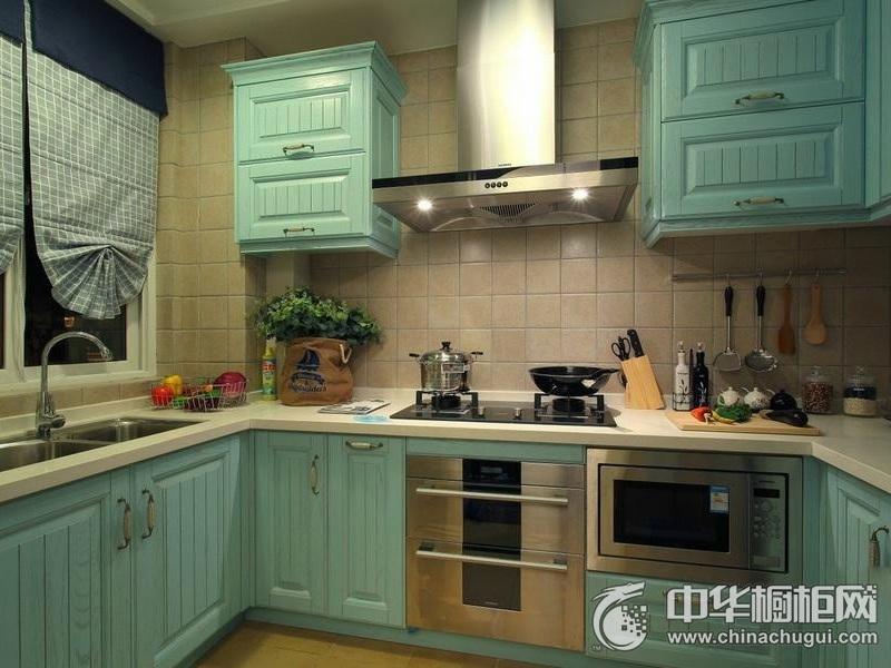 地中海风格厨房效果图 U型橱柜效果图