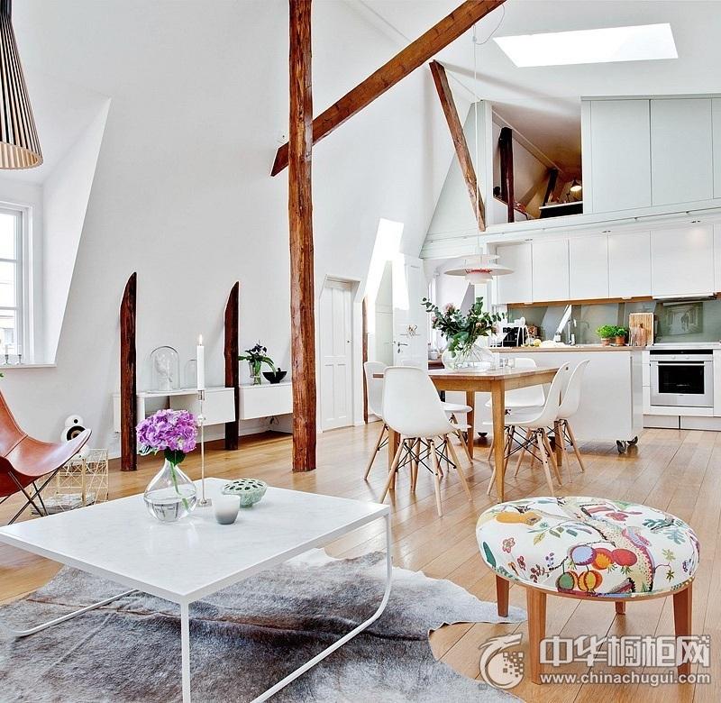 开放式厨房效果图 白色岛型橱柜图片